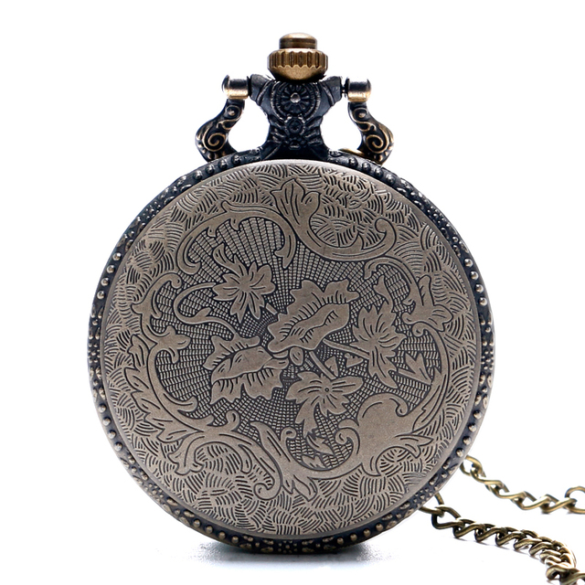 Fairy Tail Pattern Vintage Quartz Fob Watch With Necklace Chain