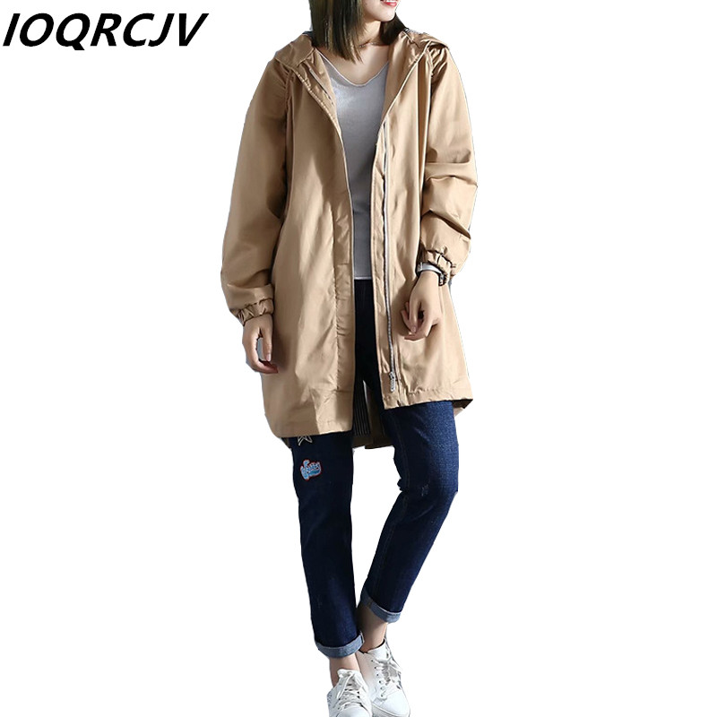 New Women   Trench   Coat Spring Autumn Casual Fashion Hooded Zipper Long Solid Outwear Female Windbreaker Loose Clothing Plus Size