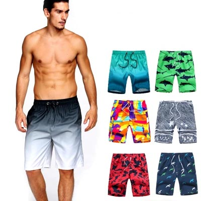 Mens Beach Shorts Colorful Skulls Bones Art Print Side Split Swim Trunks Adjustable Board Shorts