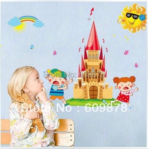 Cartoon Fairy Tale Castle Children 39 S Room Decoration Removable Wall Stickers Decor Kindergarden Paper