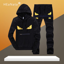Fitness Tracksuit Men Set Autumn Winter Luxury Sport Suit For Man Gym Clothing Track Suits Men's Hooded Two Pieces Hoodies Sets(China)