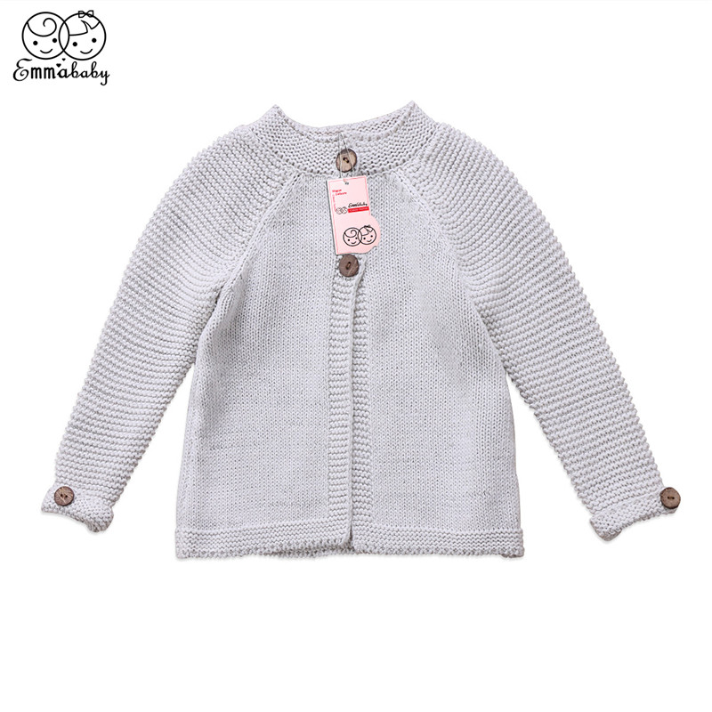 2018 Herbst Winter Schöne Kleinkind Kinder Mädchen Off-weiße Lange Hülse Mantel Pullover Strickwaren Mantel Kleidung Outfits Kinder Kleidung 100% Original