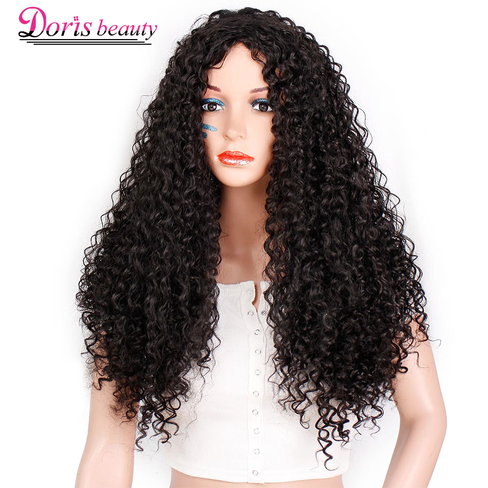 Doris Beauty Ombre Long Afro Kinky Curly Wig Synthetic Wigs For Women Black Red African Hairstyle Natural Heat Resistant