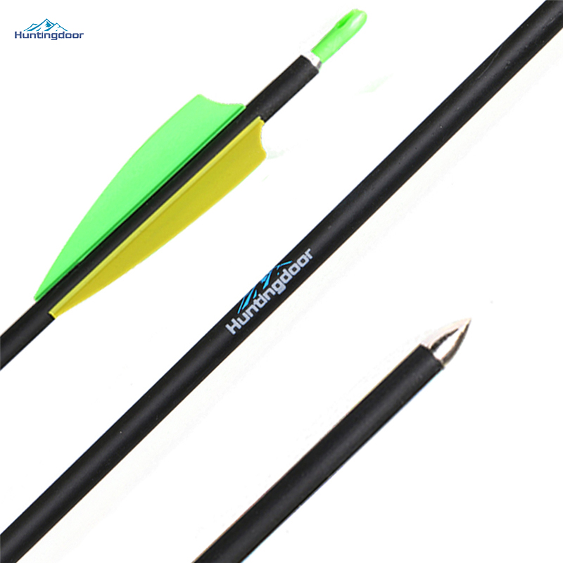 12 Pcs 6.2mmID 7mmOD 31Inch Spine 900 Carbon Arrows 3'' Peltate Shape Fletching Feathers Archery Arrows for Target Shooting