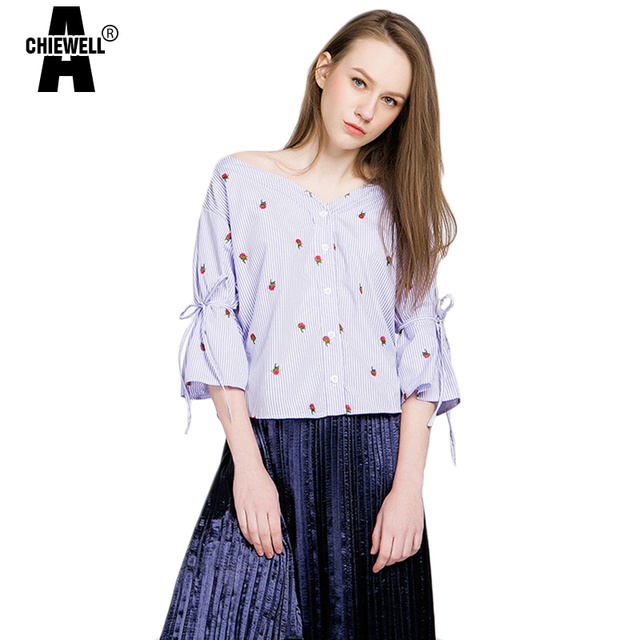 4b29c698afff Achiewell Summer Women Off Shoulder Strapless Shirts Three Quarter Floral  Print Embroidery Blouse Sweet Blue White Women Tops