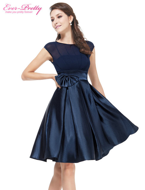 Navy Blue Bowtie Round Neck Ruffles Satin Women Cocktail Dress For Women 2016 Vestidos Ever Pretty Free Shipping EP06113