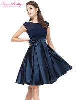 Navy blue bowtie round neck ruffles satin women cocktail dress for women 2017 vestidos ever pretty.jpg 200x200