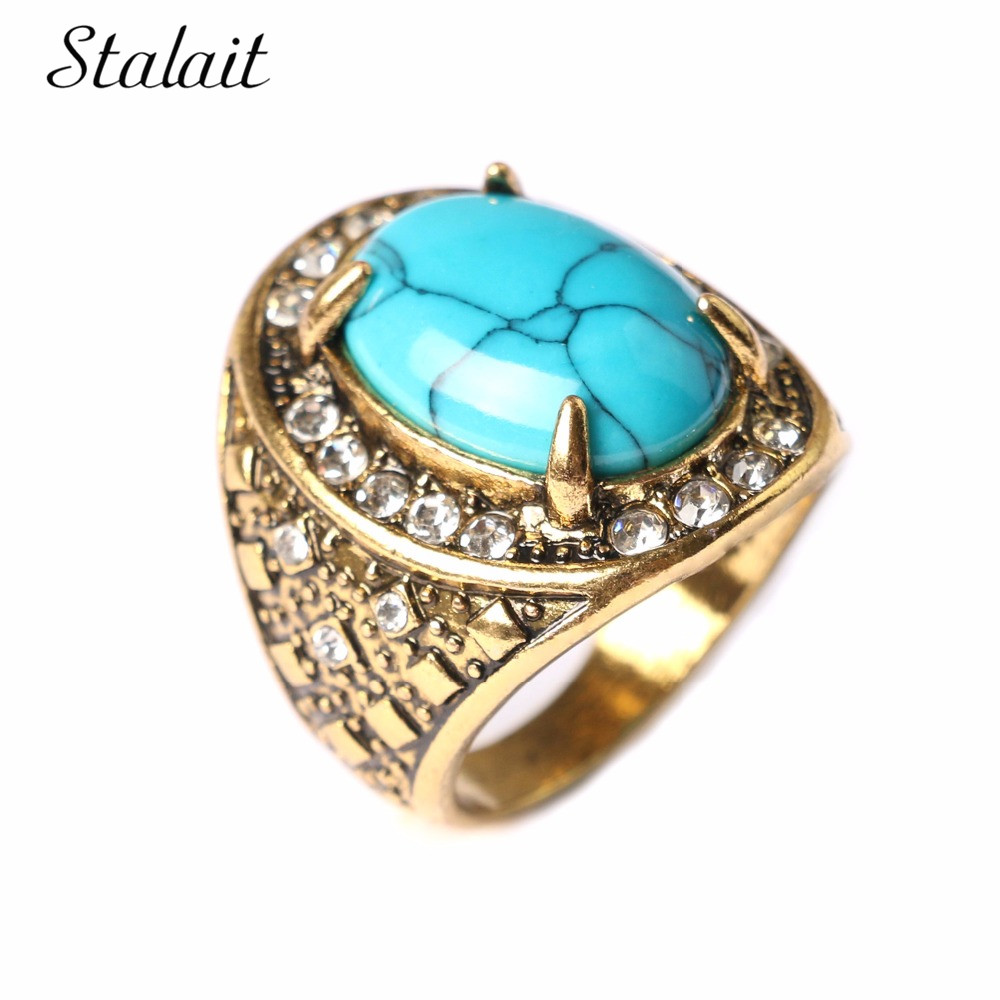 Fashion Engagement Rings Vintage Steampunk Turquesa Antique Gold Color  Bohemian Ring For Women Boho Jewelry(