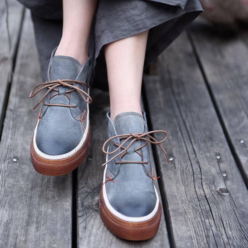 108 Mujeres Suela Mano Eje Nuevos Estilo De gray Casuales Cuero Las A Hechos Gruesa Del Zapatos Genuino Coreano Black Artmu Original 389 Alta wYOSRqRzx