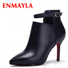 New Fall Design women sexy ankle boots Genuine Leather pointed toe thin high heels lady pumps women Martin boots shoes women chic black leather stiletto heels thigh high skinny boots european sexy zipper boots concise design dress pumps fall boot