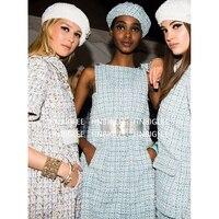 Ziwwshaoyu Haute Couture 2019 Ранняя весна Женская Твид слинг Женская Темперамент платье Камелия шелковой подкладкой мини платье