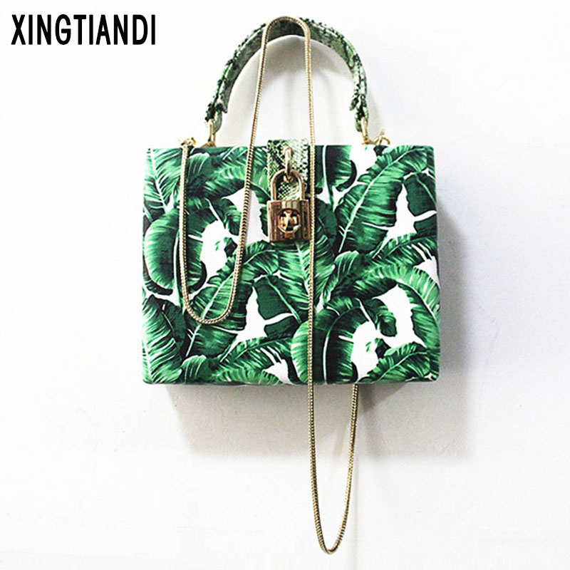New Purses Wallets box bag banana leaves print Mini clutch bags for women 2019 Summer image