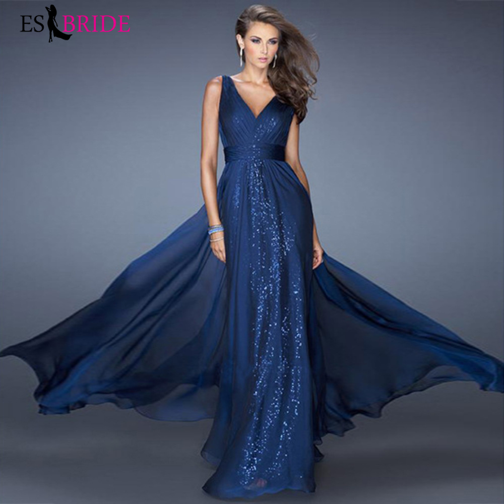 Sexy Deep V-neck Backless Evening Dress Blue Sleeveless Sexy Evening Dresses New Arrival Evening Prom Gowns For Women ES1144