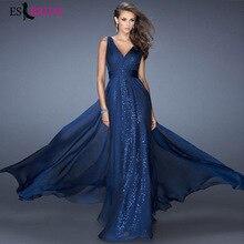 Sexy Deep V-neck Backless Evening Dress Blue Sleeveless Sexy