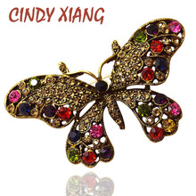CINDY XIANG 2 Colors pick Vintage Rhinestone Butterfly Brooch for Women Colorful Bohemian Pins Brooches Elegant Fashion Jewelry