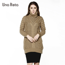 Una Reta Women Turtleneck Pullover Sweater 2017 Winter Women Long Sweater Dress Plus Size M-3XL Warm Sweaters for Women