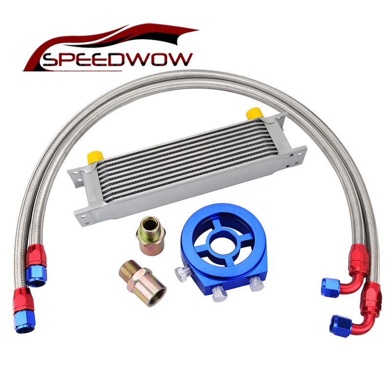 цена на SPEEDWOW 10 Row AN10 Universal Engine Transmission Oil Cooler+Filter Relocation Kit+Swivel Hose End Fitting Hose Line Kits