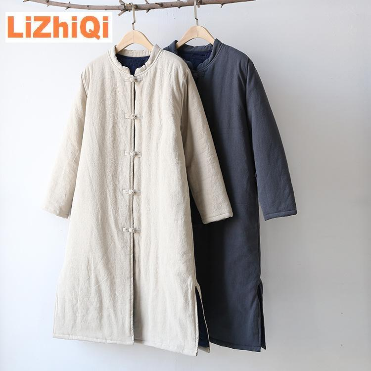 LIZHIQI Winter TOPS chinese national style vintage Coat trend stand collar plate buttons cotton-padded jacket linen outwear