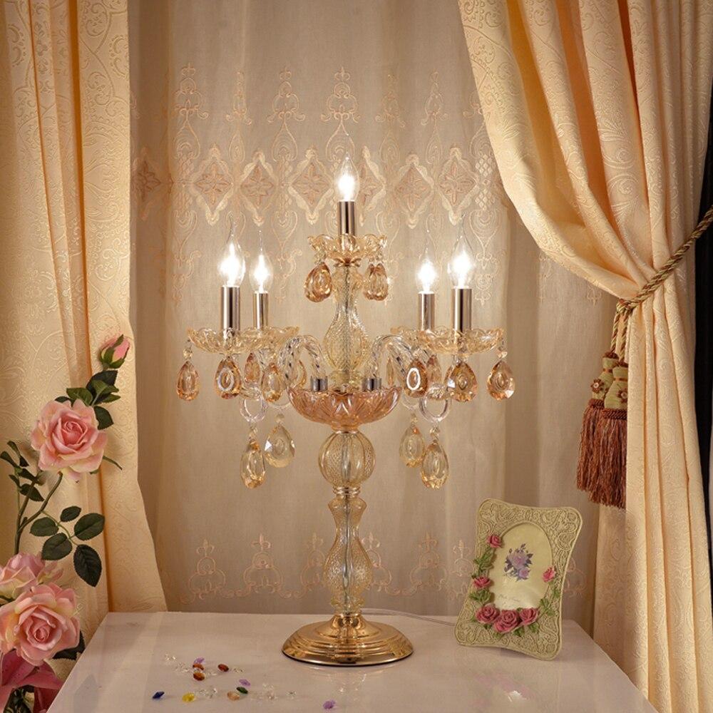 Estilo europeu de casamento candeeiro de mesa de cristal sala de estar quarto lâmpadas lâmpada de mesa moderna sala de exposições salão de beleza decorativa Abajur Cristal Abajur Golden Art Abajur Mart abajur para sala