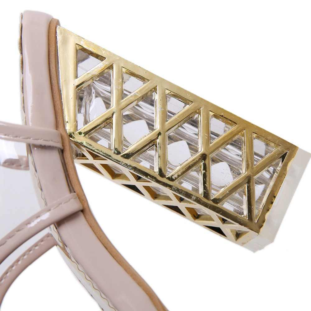 AIYKAZYSDL Kadınlar Temizle Şeffaf yarım çizmeler Yaz Peep Toe Gladyatör Sandalet Slingback Kesim Kristal Yüksek Topuklu Kalın Topuk