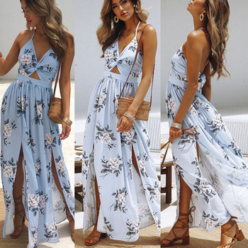 Summer 2019 Casual Sleeveless Maxi Dress Vintage Loose Women Clothes Beach Sexy Dress Fashion Elegant High Waist Long Dresses 3
