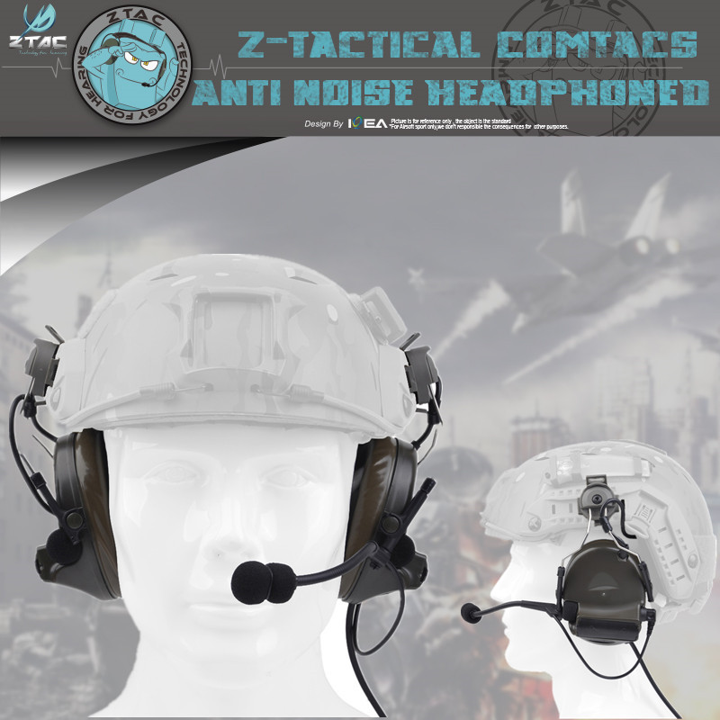 Z-TAC Z031 Comtac Ii Headphone With Peltor Adapter For Hunting Quick Helmet Rail Adapter Headset