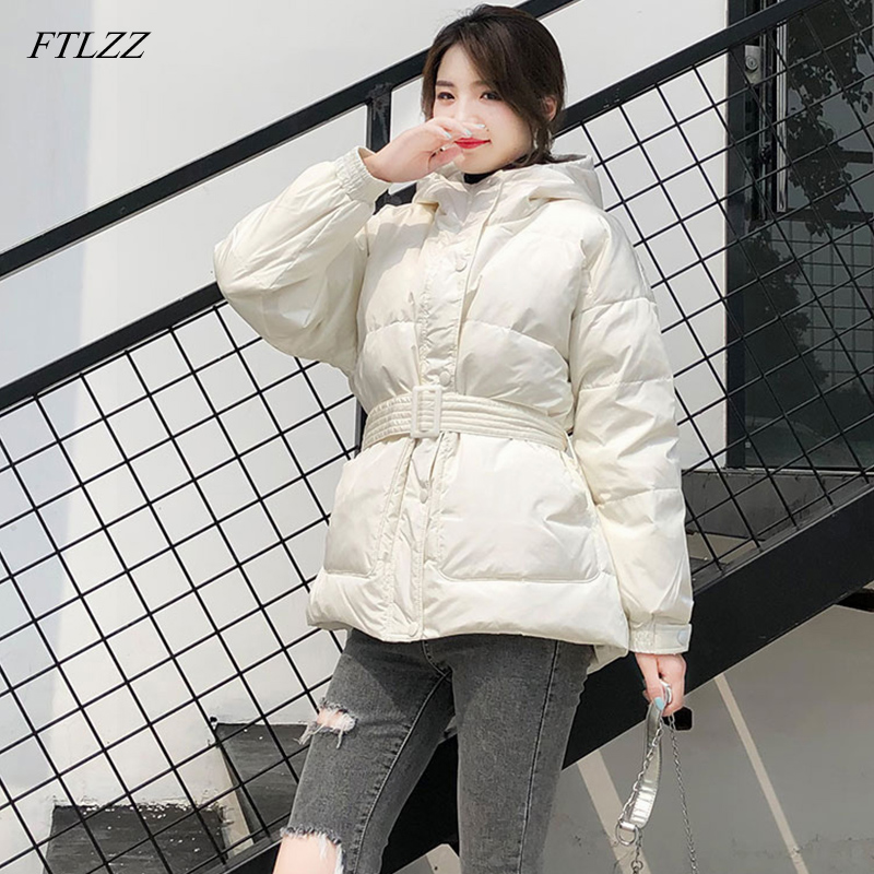 FTLZZ Women White Duck Down Jackets Winter 90% Ultra Light Down Coat Slim Hooded With Belt Parka Female Warm Snow Outwear