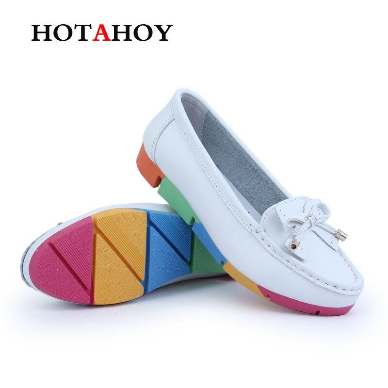 HOTAHOY Mocasines Mujer Super Suave PU Pisos de Cuero Zapatos de Color Brillante