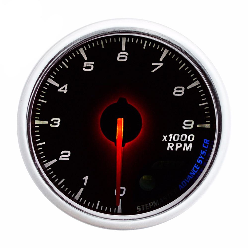 DRAGON GAUGE Tachometer Car Gauge 60mm 0~9000 RPM Tachometers Mechanical Meter White Dial Face Silver Bezel 12V TACHO 2 52mm auto car tachometer gauge analog carbon fibre face 0 8000 rpm white background light black bezel