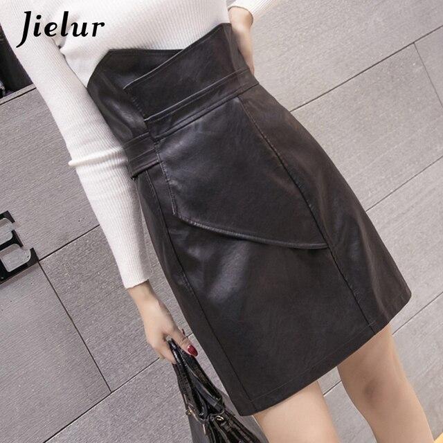 Jielur Mode Slanke Hoge Taille PU Lederen Rok Office Lady Patchwork S XL vrouwen Rok High Street Elegant Schede Zwarte rokken
