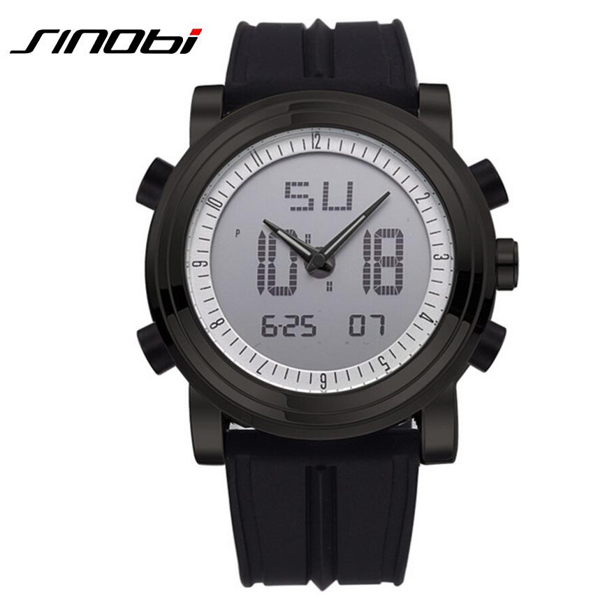 Prix pour Sinobi hommes Sport montre LED affichage numérique Mens Watch hommes chronographe bande de Silicone Casual montre - bracelet Gents lumineuse horloge heure