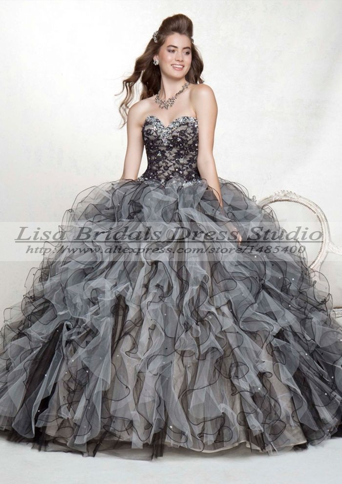 Vestido Debutante 15 Anos Detachable Blue Black And White Quinceanera Dresses Ball Gowns Masquerade 2014 De In From