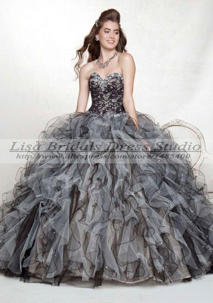 Vestido Debutante 15 Anos Detachable Blue Black And White Quinceanera Dresses Ball Gowns Masquerade 2014 De In From