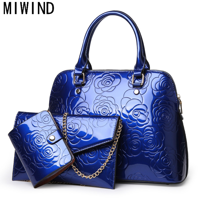 Fashion Hand Bag Famous Brand Bag High Quality Patent Leather Women Luxury Floral 3 Sets Ladies Handbags Female Shoulder Bags10 beep2018 new high quality fashion luxury brand leather handbags fashion shoulder bag women s well known brand