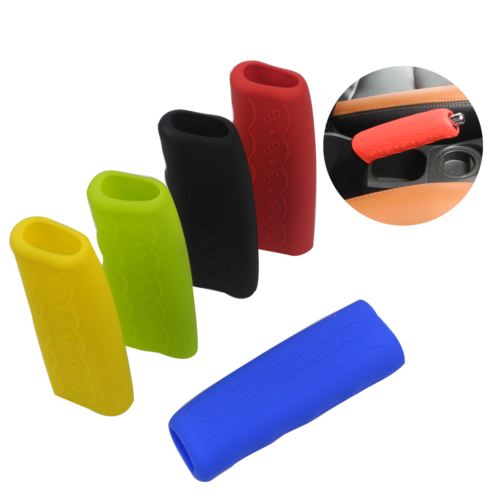 10pcs/lot Car Universal Silicone Handbrake Covers Nonslip Hand Brake Cover Case Gear Knob Sleeve Protector