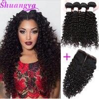 Brazilian Deep Wave Hair 100 Human Hair Bundles With Closure 3 4 Bundles With Closure
