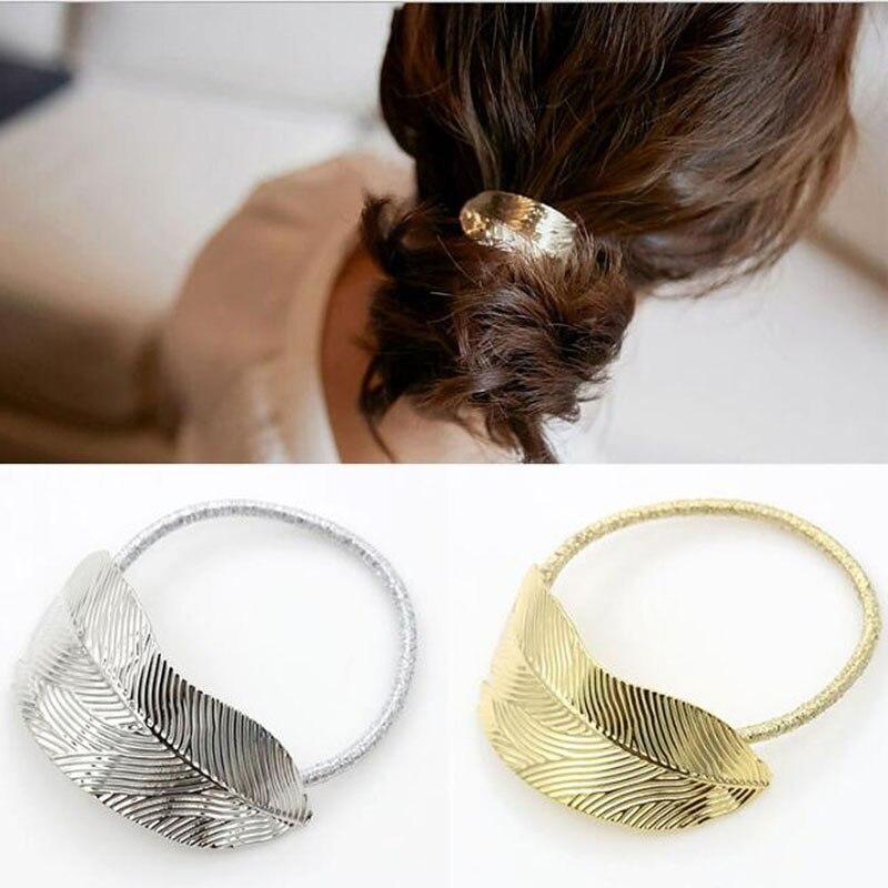 58d543762 2 unids moda mujeres hoja cuerda de la venda del Pelo elástico del ponytail