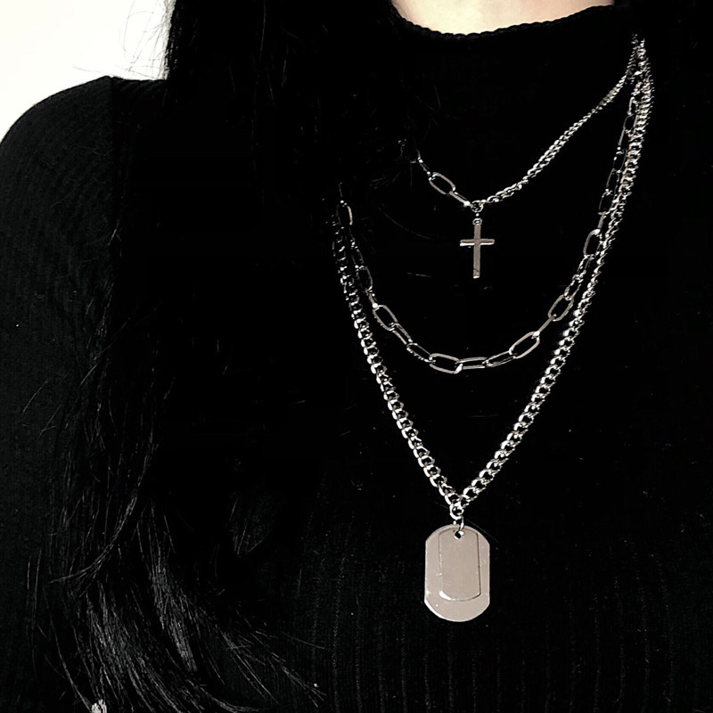 2019 Fashion Personality Hip Hop Jewelry Long Section Multi Layer Cross Necklace New Metal Clavicle Chain Female Holiday Gift