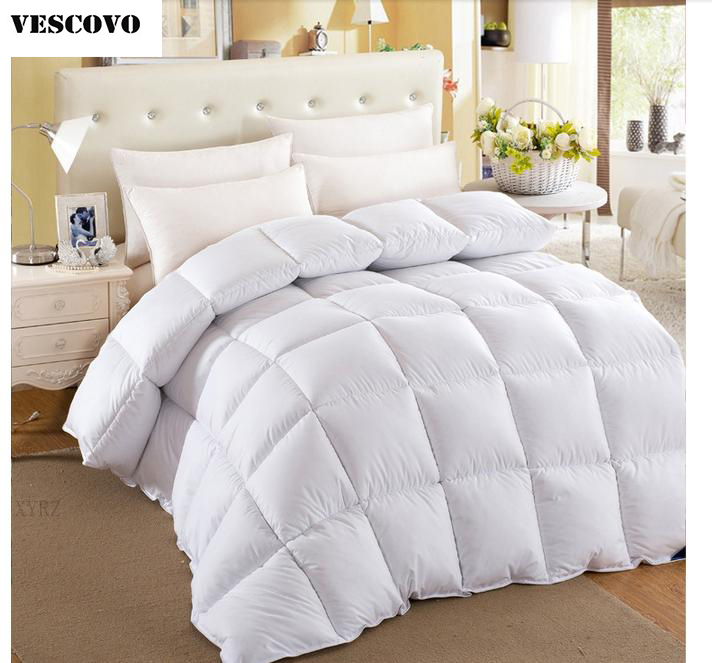 vescovo free shipping full queen king size winter quilts cotton goose down comforter white pink - King Down Comforter