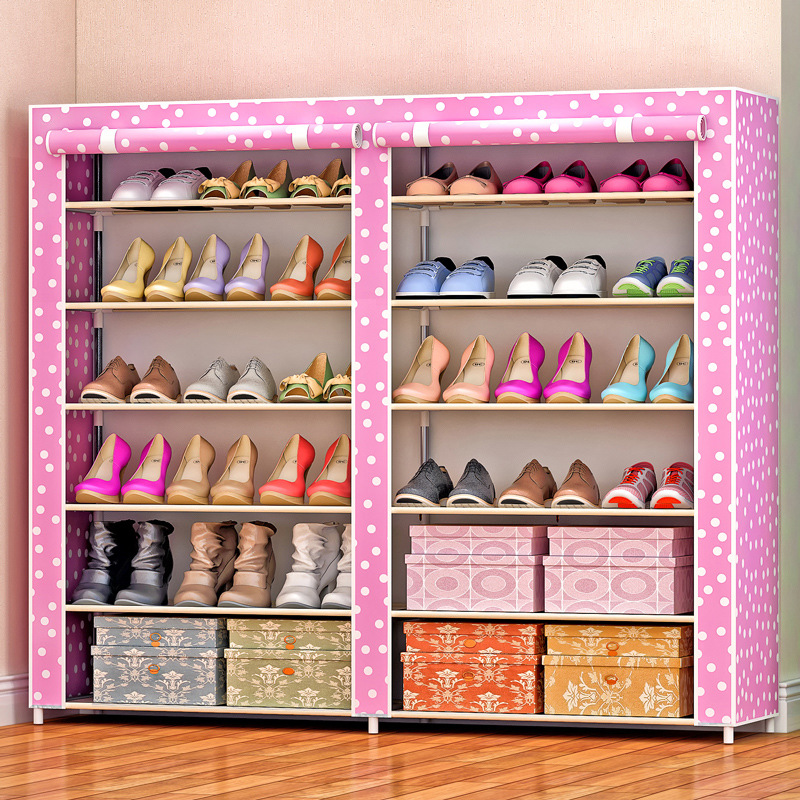 Simple double row shoe cabinet thicken non-woven damp-proof steel ...