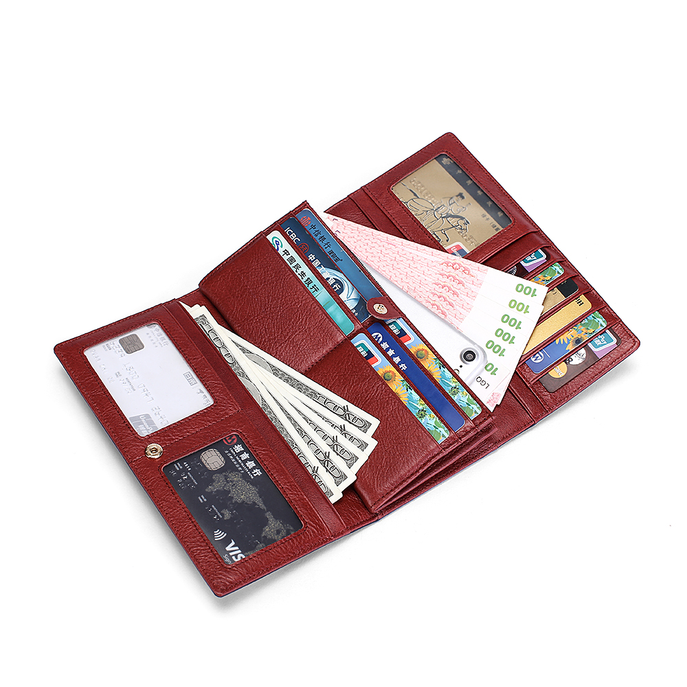 Premium 100 Genuine Leather Women Wallets Long Vintage Large Capacity Zipper Purses Multi Card Bit Card Wallets Carteras Mujer in Wallets from Luggage Bags