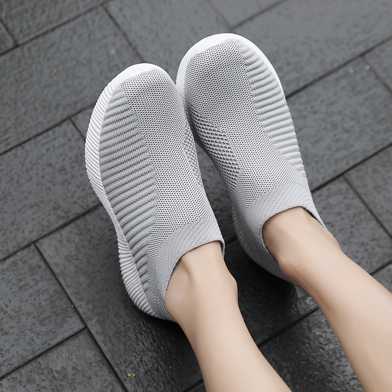 ERNESTNM 2019 Women Sneakers Vulcanized Shoes Sock Sneakers Women Summer Slip On Flat Shoes Women Plus Size Loafers Walking Flat