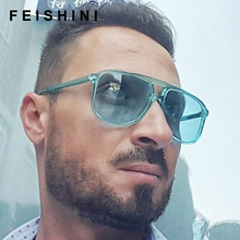 Feishini Green Candy Color Trend hip hop Unisex Sunglasses 2019 Clear Lens Visio