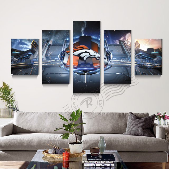 Art Canvas 5 Piece Abstract Denver Broncos Wall Painting Home Decor Oil Prints