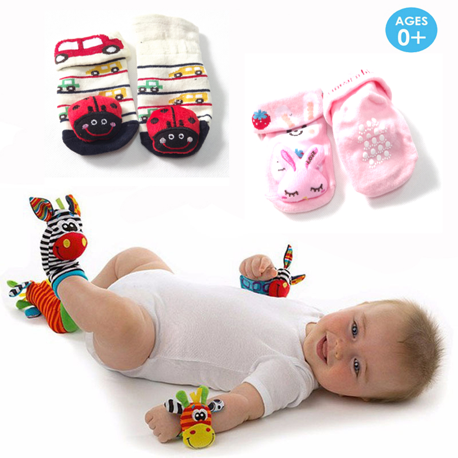 Baby Rattle Toys : Pieces infant baby rattle toys bb rattles socks bell