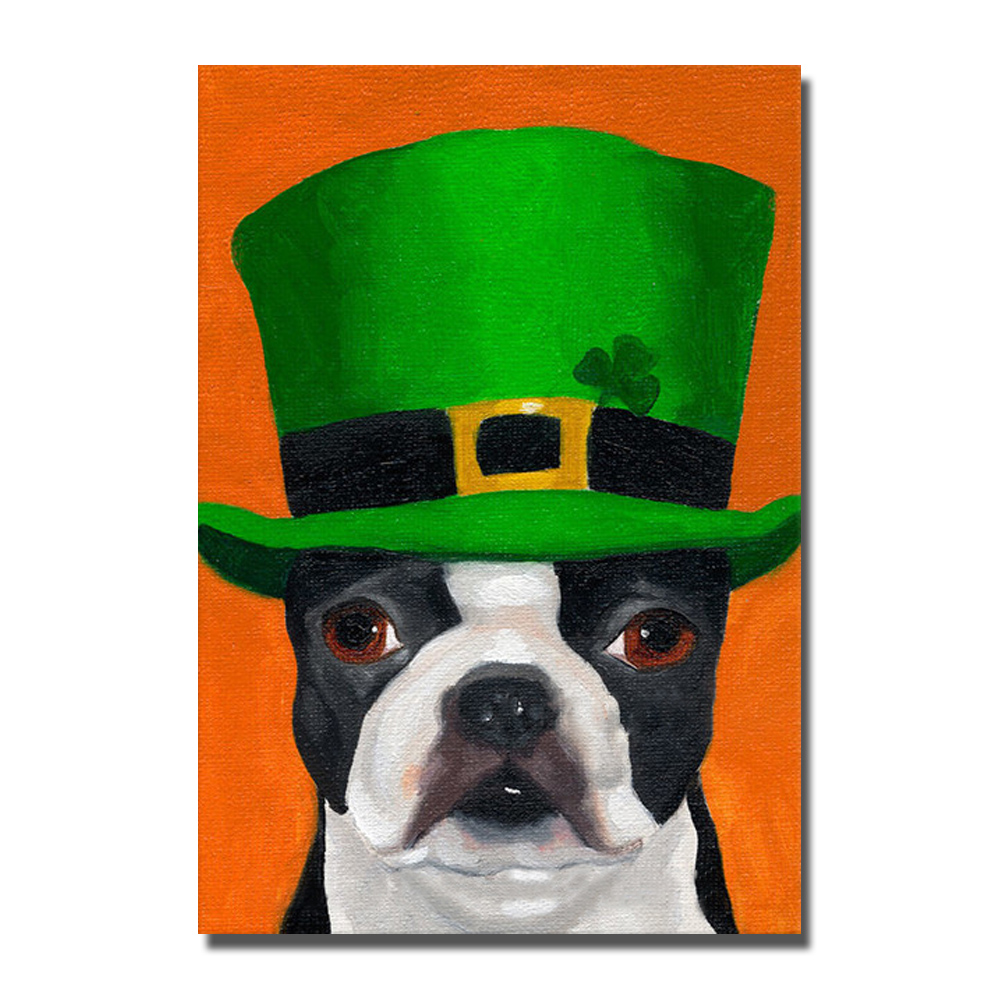 Wearing Hat Dog Oil Paintings on Sale Pictures for Living Room Decor No Framed and With Framed Cheap Modern Animal Painting