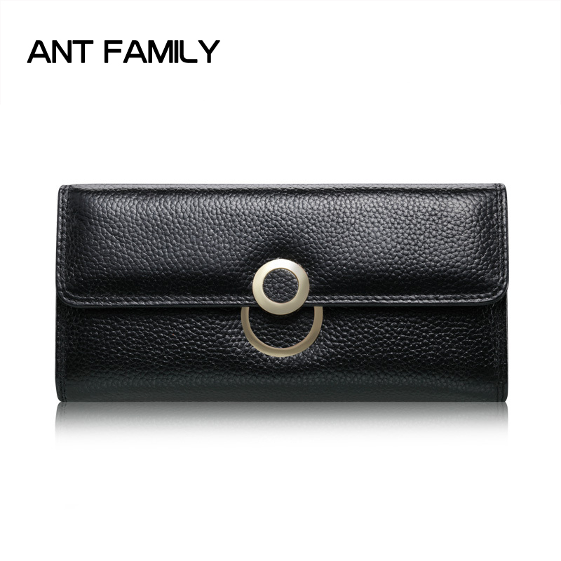 Genuine Leather Wallet Women Fashion Hasp Long Wallets Solid Coin Purse Female Card Holder Wallet Ladies Leather Wallets Black vickaweb genuine leather small wallet women wallets alligator short purse coins hasp girls wallet fashion female ladies wallets