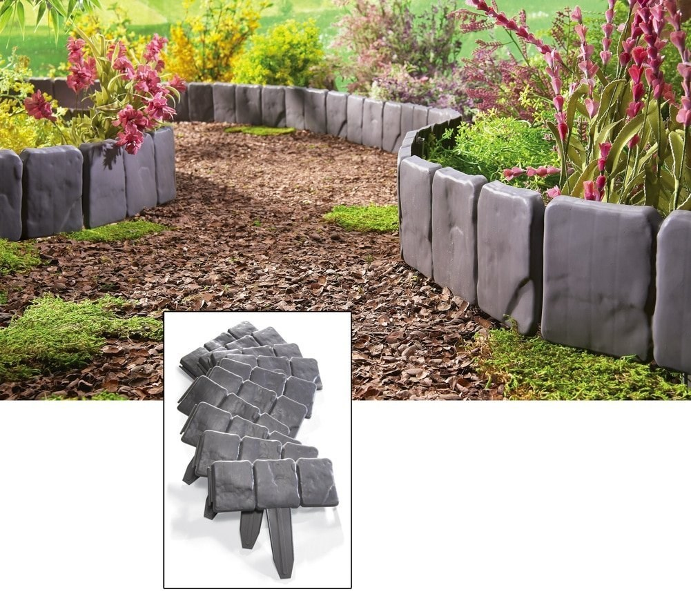 10Pcs Grey Garden Fence Edging Cobbled Insert Ground Type Plastic Fences Lawn Edging Plant Border Decorations Flower Bed Border