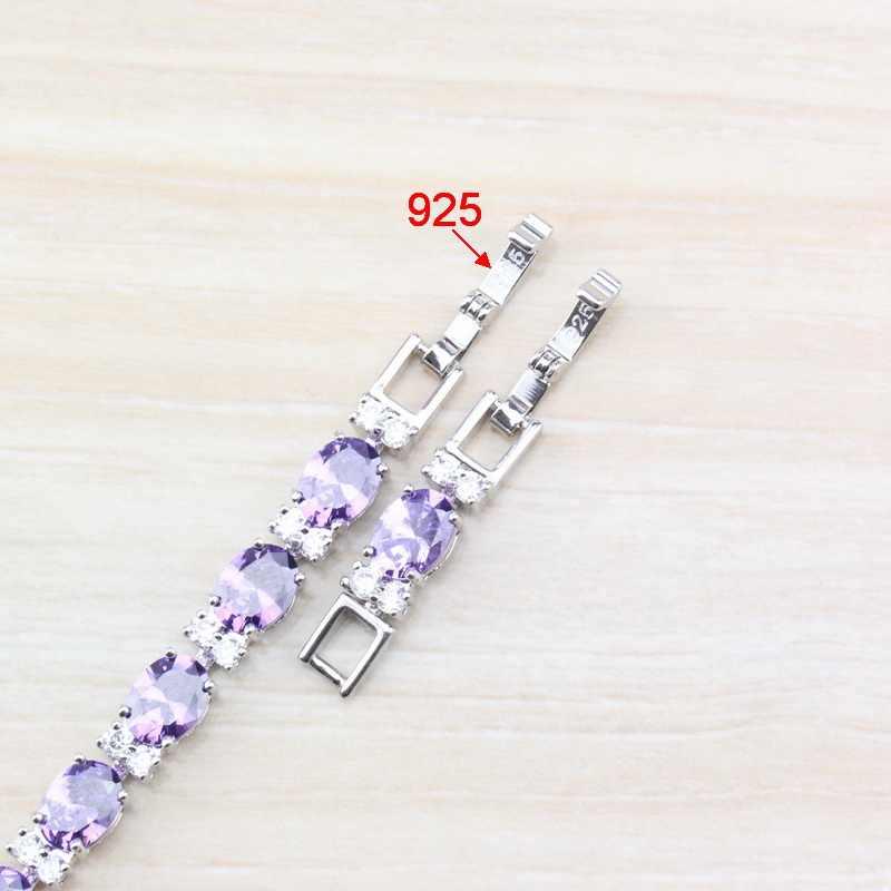 Flawless สีม่วง Zircon 925 เงินสเตอร์ลิงสร้อยข้อมือแฟชั่นเครื่องประดับสำหรับผู้หญิงเครื่องประดับฟรีกล่อง SL81