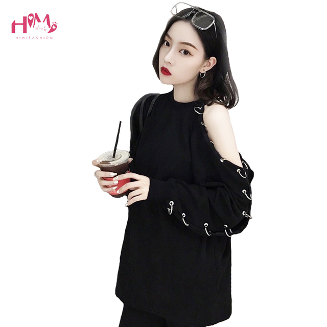 Coreano Harajuku mujeres de manga larga Camiseta 2019 primavera BF estilo elegante negro Top de hombro con agujero anillo Sexy camiseta Casual
